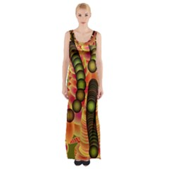 Abstract Background Digital Green Maxi Thigh Split Dress