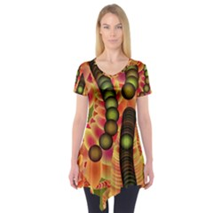 Abstract Background Digital Green Short Sleeve Tunic