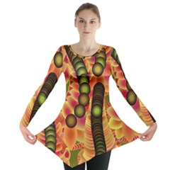 Abstract Background Digital Green Long Sleeve Tunic