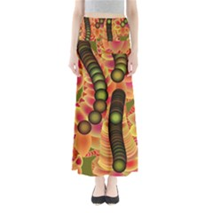 Abstract Background Digital Green Maxi Skirts