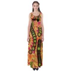 Abstract Background Digital Green Empire Waist Maxi Dress