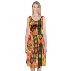 Abstract Background Digital Green Midi Sleeveless Dress