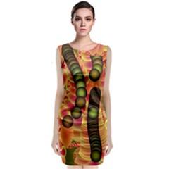 Abstract Background Digital Green Classic Sleeveless Midi Dress