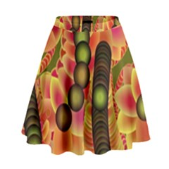 Abstract Background Digital Green High Waist Skirt