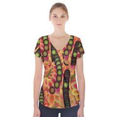 Abstract Background Digital Green Short Sleeve Front Detail Top