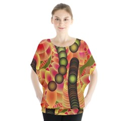 Abstract Background Digital Green Blouse