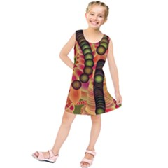 Abstract Background Digital Green Kids  Tunic Dress