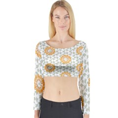 Stamping Pattern Fashion Background Long Sleeve Crop Top