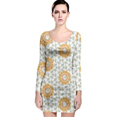 Stamping Pattern Fashion Background Long Sleeve Bodycon Dress