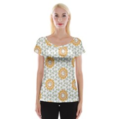 Stamping Pattern Fashion Background Women s Cap Sleeve Top