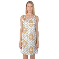Stamping Pattern Fashion Background Sleeveless Satin Nightdress
