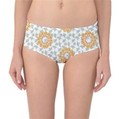 Stamping Pattern Fashion Background Mid Waist Bikini Bottoms