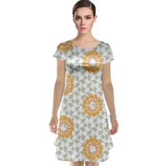 Stamping Pattern Fashion Background Cap Sleeve Nightdress