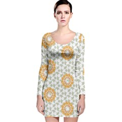 Stamping Pattern Fashion Background Long Sleeve Velvet Bodycon Dress