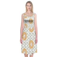 Stamping Pattern Fashion Background Midi Sleeveless Dress