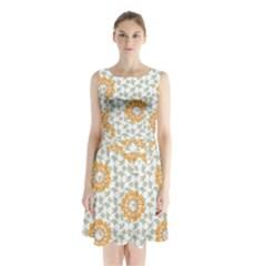 Stamping Pattern Fashion Background Sleeveless Chiffon Waist Tie Dress