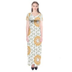 Stamping Pattern Fashion Background Short Sleeve Maxi Dress