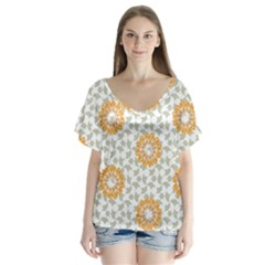 Stamping Pattern Fashion Background Flutter Sleeve Top