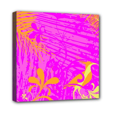 Spring Tropical Floral Palm Bird Mini Canvas 8  X 8