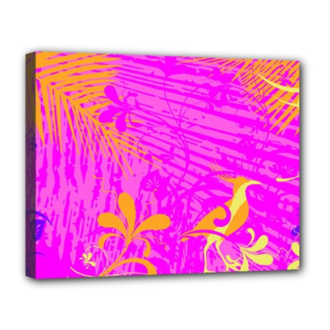 Spring Tropical Floral Palm Bird Canvas 14  x 11