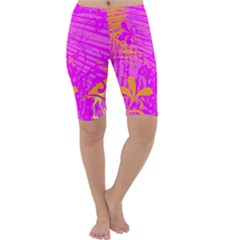 Spring Tropical Floral Palm Bird Cropped Leggings