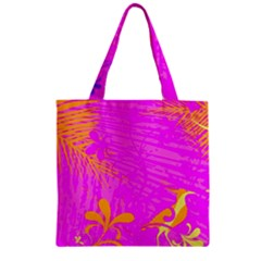 Spring Tropical Floral Palm Bird Zipper Grocery Tote Bag