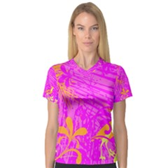 Spring Tropical Floral Palm Bird Women s V Neck Sport Mesh Tee