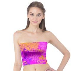 Spring Tropical Floral Palm Bird Tube Top