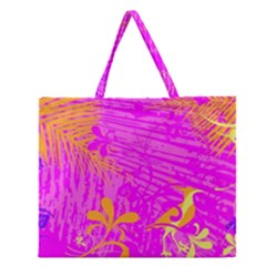 Spring Tropical Floral Palm Bird Zipper Large Tote Bag