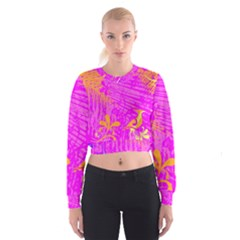 Spring Tropical Floral Palm Bird Cropped Sweatshirt