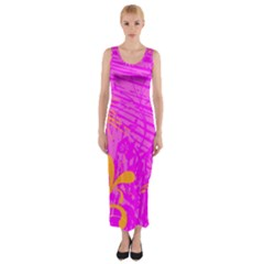 Spring Tropical Floral Palm Bird Fitted Maxi Dress