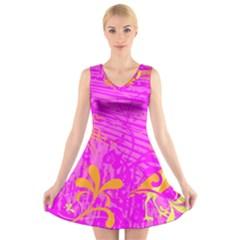 Spring Tropical Floral Palm Bird V Neck Sleeveless Skater Dress