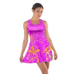 Spring Tropical Floral Palm Bird Cotton Racerback Dress