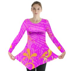Spring Tropical Floral Palm Bird Long Sleeve Tunic