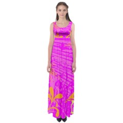 Spring Tropical Floral Palm Bird Empire Waist Maxi Dress