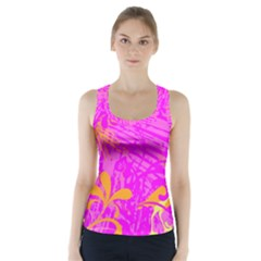Spring Tropical Floral Palm Bird Racer Back Sports Top
