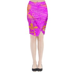 Spring Tropical Floral Palm Bird Midi Wrap Pencil Skirt