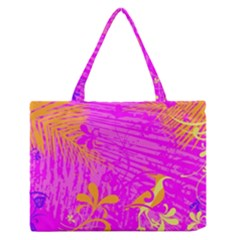Spring Tropical Floral Palm Bird Medium Zipper Tote Bag