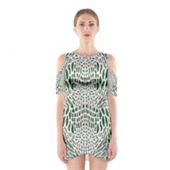 GREEN SNAKE TEXTURE Cutout Shoulder Dress