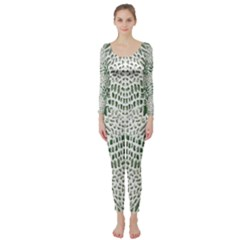 GREEN SNAKE TEXTURE Long Sleeve Catsuit