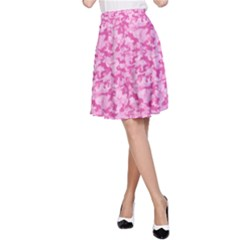 Shocking Pink Camouflage Pattern A Line Skirt