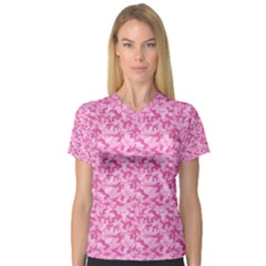 Shocking Pink Camouflage Pattern Women s V Neck Sport Mesh Tee
