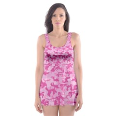 Shocking Pink Camouflage Pattern Skater Dress Swimsuit