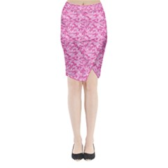 Shocking Pink Camouflage Pattern Midi Wrap Pencil Skirt