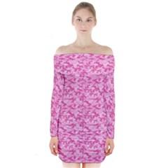 Shocking Pink Camouflage Pattern Long Sleeve Off Shoulder Dress
