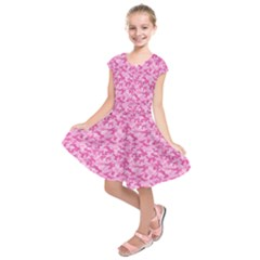 Shocking Pink Camouflage Pattern Kids  Short Sleeve Dress
