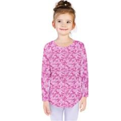 Shocking Pink Camouflage Pattern Kids  Long Sleeve Tee