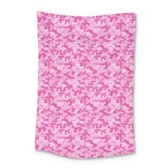 Shocking Pink Camouflage Pattern Small Tapestry