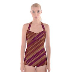Stripes Course Texture Background Boyleg Halter Swimsuit