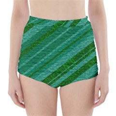 Stripes Course Texture Background High-Waisted Bikini Bottoms